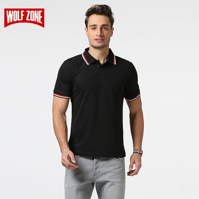 WOLF ZONE Brand POLO Shirt Men Cotton Fashion Summer Breathable Solid
