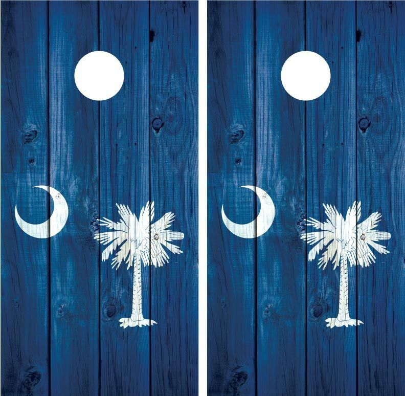 South Carolina Flag Vintage Distressed Wood Cornhole Board Decal Wrap  Wraps  lightning delivery