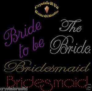 WEDDING-BRIDE-IRON-ON-RHINESTONE-DIAMANTE-BLING-HEN-NIGHT-PARTY-TSHIRT-TRANSFER