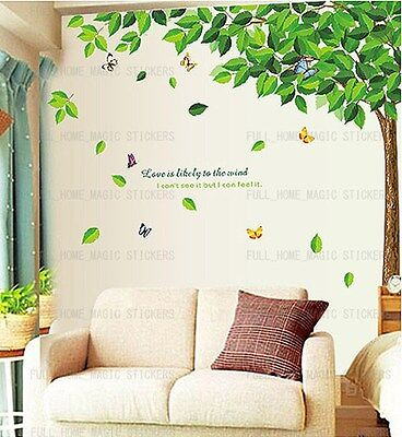 Huge Green Leaves Tree Wall Stickers Removable Art Decal Home Office WallPaper