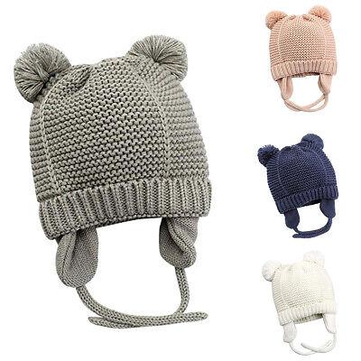 Newborn Baby Girls Boys Winter Hats Cute Beanie Warm Knitted Soft Caps Earflaps
