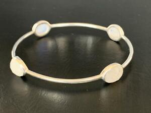925 Sterling Silver Rainbow Moonstone Bangle Bracelet Gemstones Semi Precious