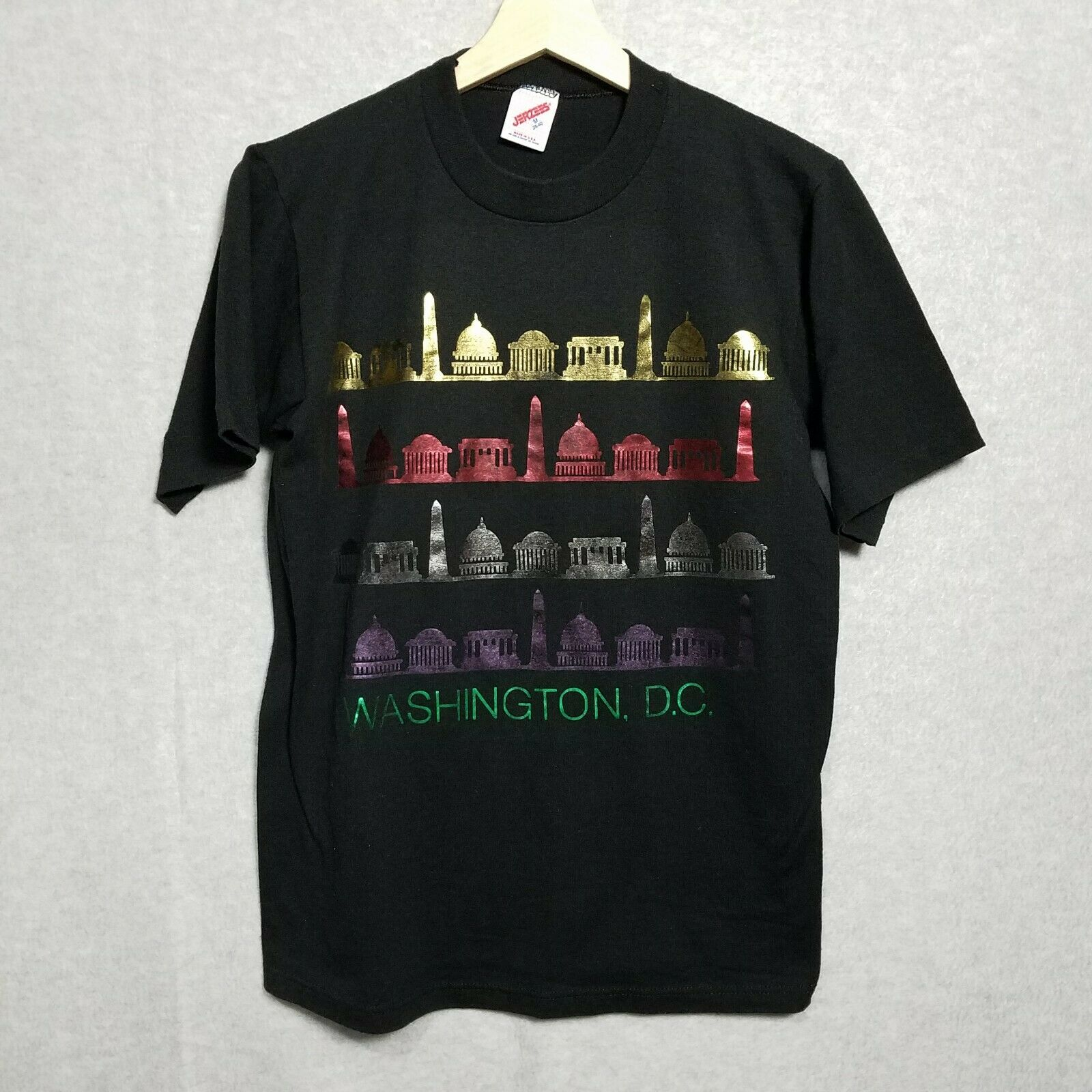 Vintage 80s WASHINGTON DC TOURIST Metallic Printe… - image 6