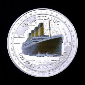 Contemplatif ● Grosse Medaille / Monnaie Plaquee Argent : Le Titanic ●