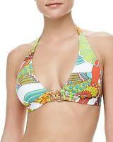$80 Trina Turk Santa Cruz Print Buckle Halter Top Bikini Swimsuit Top