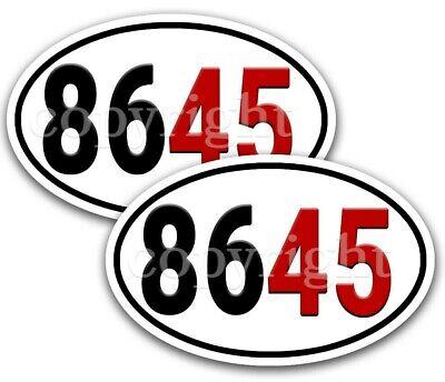 "Trump 2020 Bumper Stickers Oval Decals Tri-Star White 5/"" 2 pack"