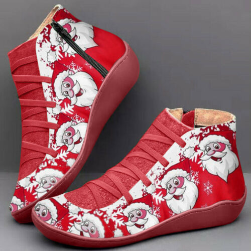 Womens Boots Santa Claus Christmas Arch Support Flat Ankle Booties Lace Up Shoes