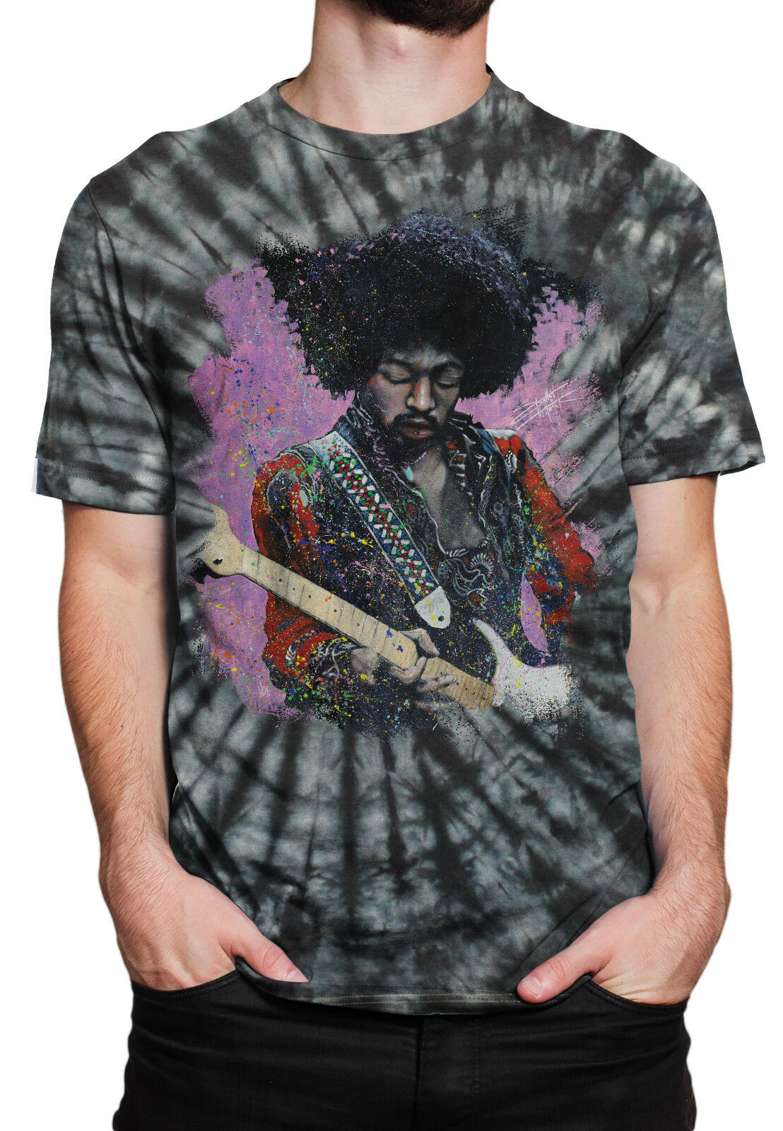 Jimi Hendrix Jamming On Guitar Tie Dyed Adult T Shirt