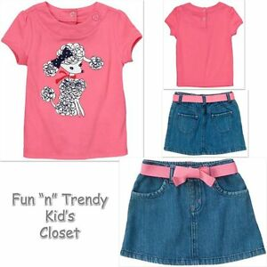 Children/'s Place 2-piece long sleeve sparkle top /& skirt outfit 12-18 /& 4T NWT