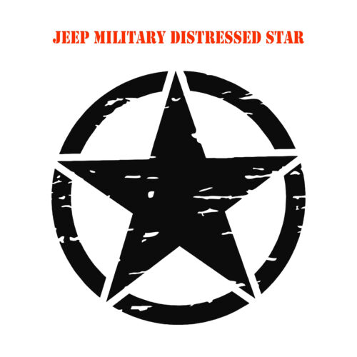 Army Star distressed military hood decal Jeep Wrangler Vinyl Graphic Sticker Dl1