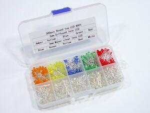 3mm LED Sortiment 500 Stück 5 Farben klar//diffus in Box