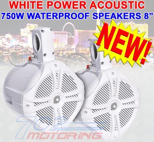 """POWER ACOUSTIK MWT-80 WHITE 8/"""" 750W MARINE BOAT WAKE TOWER TWEETERS SPEAKERS NEW"""