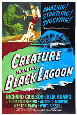 1954 CREATURE FROM THE BLACK LAGOON VINTAGE MOVIE POSTER PRINT STYLE B 36x24