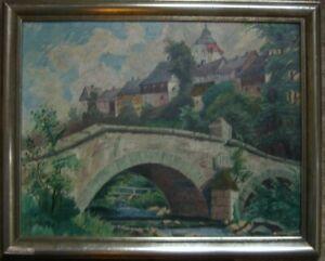 OLGEMALDE-KIRCHE-BRUCKE-AM-FLUss-K-WIESER-1928-SUDDEUTSCH-ANTIK-WER-WEIss-WO