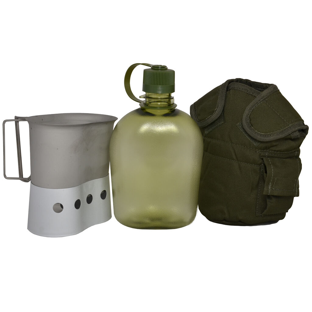 1l transparent green  water bottle military canteen cover set cup holder  shop clearance