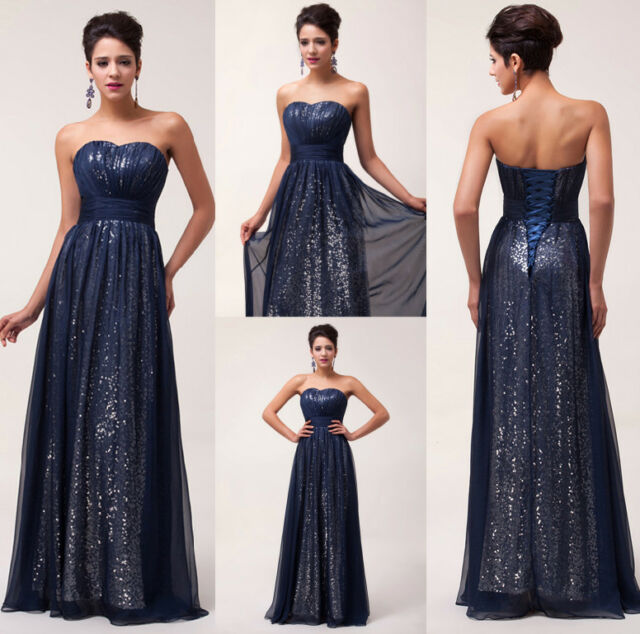 Sequins Long Chiffon Evening Party Wedding Ball Gown Prom Cocktail Dress SZ 6-20