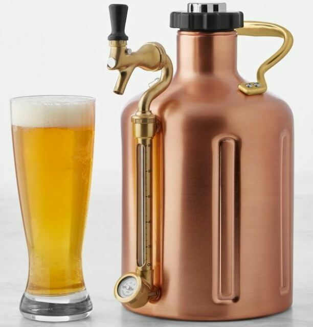 GrowlerWerks Copper uKeg 128 oz Pressurized Growler & CO2 for Craft Beer