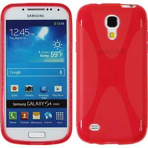 Coque-en-Silicone-Samsung-Galaxy-S4-Mini-X-Style-rouge-films-de-protection