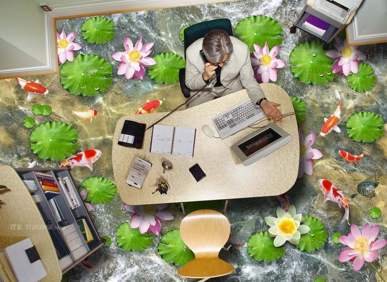 3D Karpfenteich 507 Fototapeten Wandbild Fototapete Tapete Familie DE Lemon