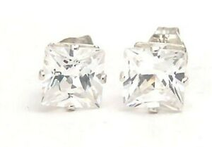 Stud-Earrings-925-Sterling-Silver-6-mm-Princess-2-6-carat-New