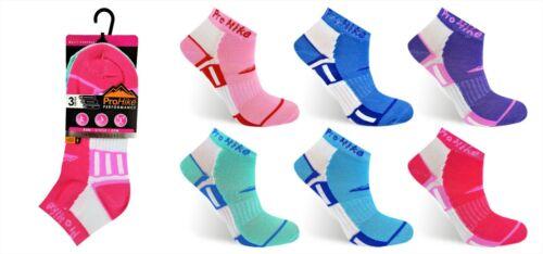 3 paire de dames Pro Hike Trainer Gym Sports Chaussettes doublures en coton mélangé UK 4-7