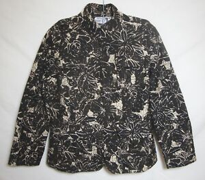 Floral Coat 8 1 Medium Monteret Brown Broderi Chico's Front Jacket Zip Chicos 5zpAwxqPYq
