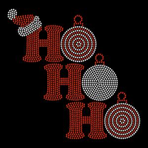 Christmas Ornament Ho Ho Ho Santa Hotfix Iron On Rhinestone Shirt Transfer