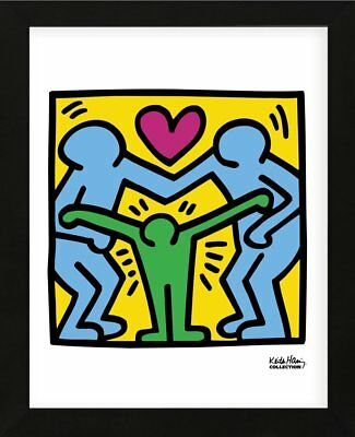 FRAMED ART KH11 by Keith Haring Print Family Hug Heart Contemporary Frame 13x16