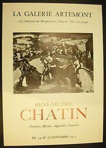 Adaptable Affiche Exposition René- Michel Chatin Galerie Artemont 14 Novembre 1972 Qualité SupéRieure (En)