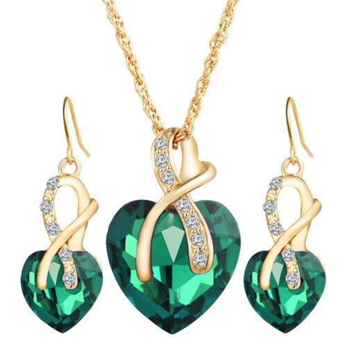 Cœur Forme Love Crystal Jewelry Sets Pour Femmes Collier Boucles d/'oreilles Set sa
