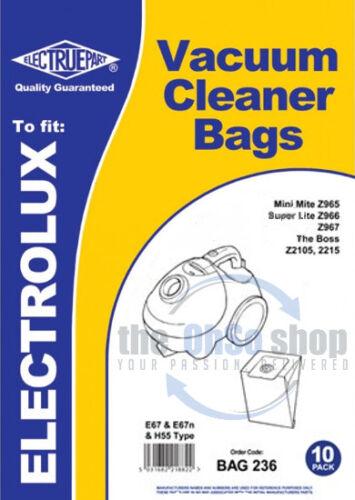 20x Electrolux Vacuum Cleaner Bags E67 Z965 E67N /& H55 Type Z960 Z966 Z967