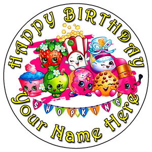 """Shopkins 7.5/"""" Round Personalised Message Birthday Cake Topper"""