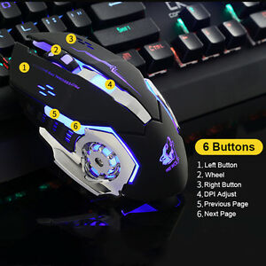 Ergonomic Pro Wired LED Light 4000DPI Optical Usb Gamer Gaming Mouse Metal Plate