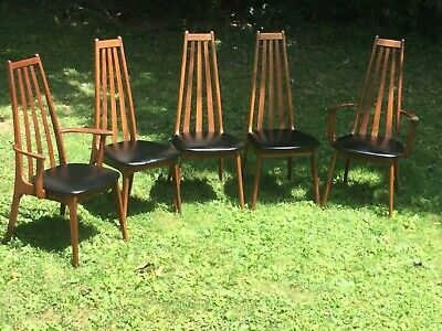 5 High Back Richbilt Mid Century Danish Modern Dining Chairs Teak Black 1960 S Ebay