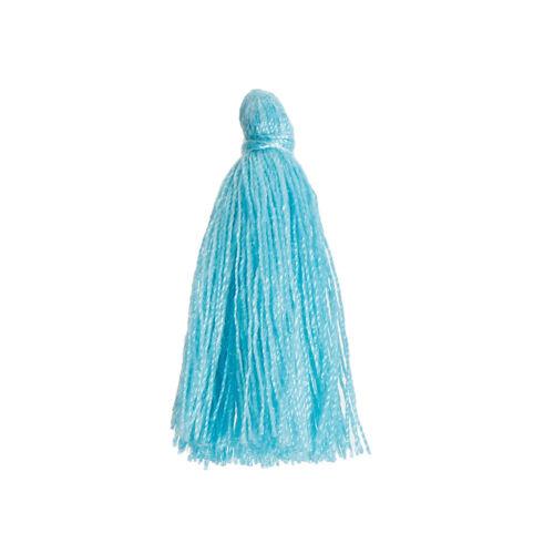 5 pompons gland en coton de couleur bleu 30 mm