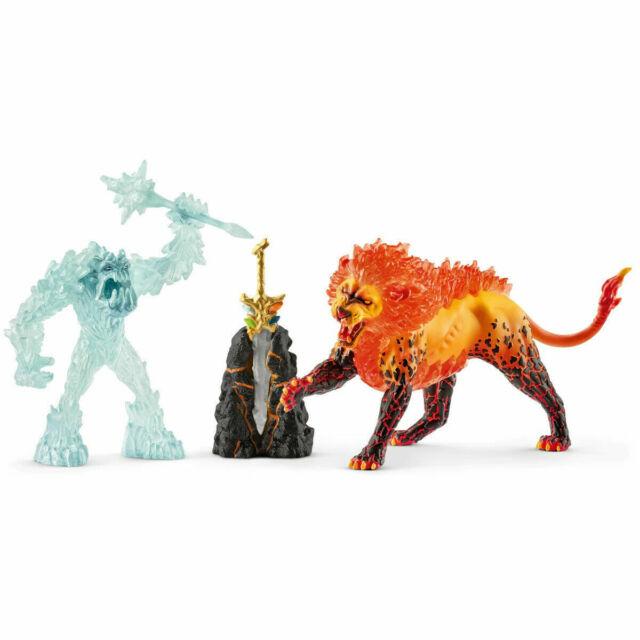 Schleich - New - Secret Lava Temple & Super Weapon Frost Monster vs. Fire Lion