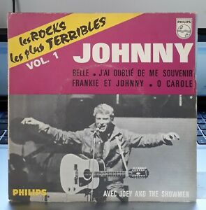 RARE-EP-Pochette-papier-Johnny-Hallyday-Les-Rocks-Les-Plus-Terribles-Vol-1