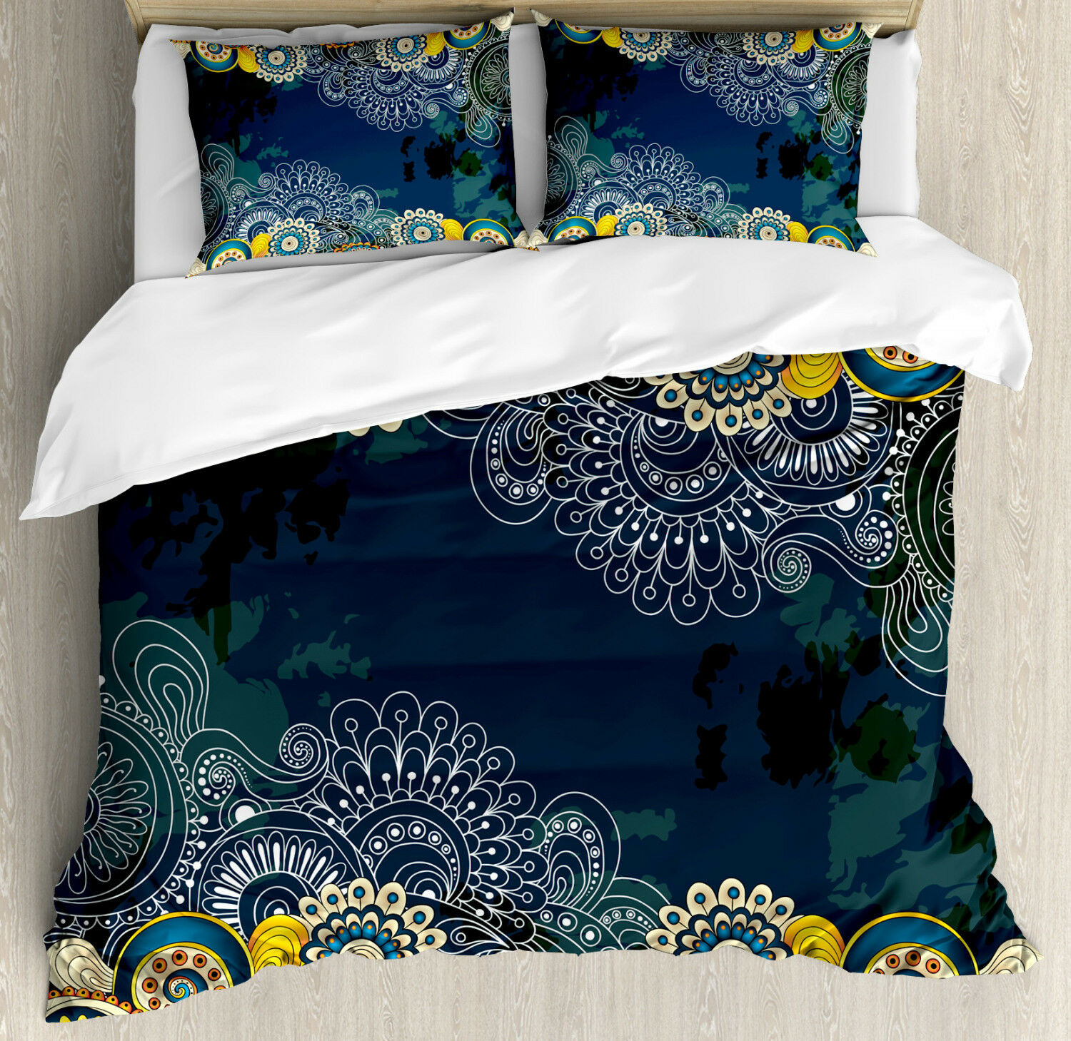 Psychedelic Duvet Cover Set with Pillow Shams Mandala Paisley Print