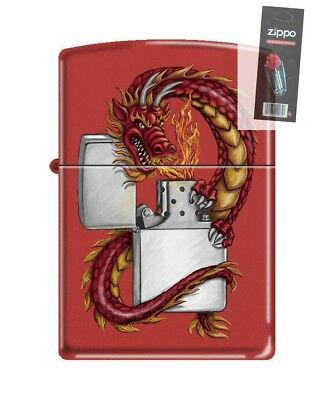 FLINT PACK Zippo 3329 Oriental Dragon With Zippo Red Matte Finish Lighter
