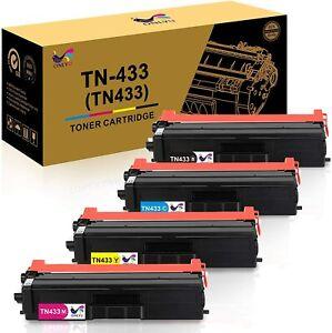 4 Pack Black TN433BK Toner Cartridge Replacement for Brother HL-L8260CDW L8360CDW L8360CDWT L9310CDWT L9310CDWTT DCP-L8410CDW MFC-L8610CDW L8900CDW L9570CDWT L9570CDW Printers Toner Cartridge