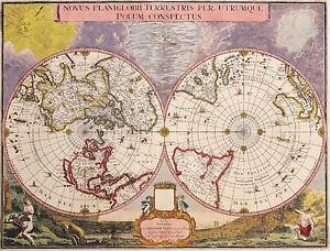 Poster Vintage Style Double Hemisphere World Map Picture Print - World map poster vintage style