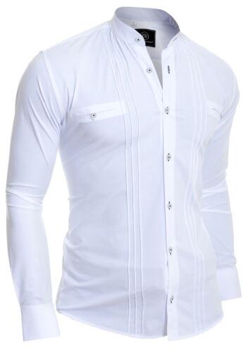 Hombre Ajustado Camisa Cuello Mao Casual Formal Algodón Smart Talla UK Cuadrado