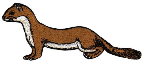 ac23 Wiesel Marder Hermelin Tier Aufnäher Bügelbild Applikation 13,8 x 5,5 cm