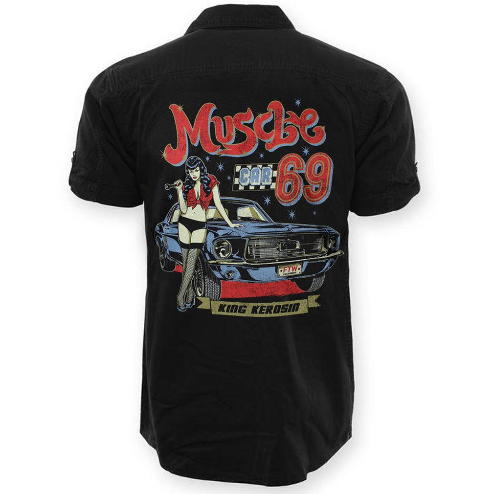 King Kerosin a Maniche Corte Camicia Worker-Muscle 69