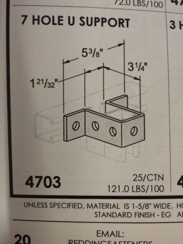 """#4703 P1737 3-1//4/"""" 7 Hole U fitting for Unistrut Channel Box of 10"""