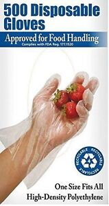 Disposable Food Preparation Gloves - Box of 500: One Size Fits All - New