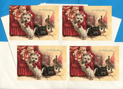 WESTIE SCOTTIE SCOTTISH TERRIER PUPPIES 4 DOG PRINT GREETING CHRISTMAS CARDS