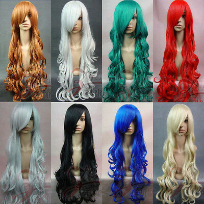80CM Long wavy curly Cosplay Party Fashion Wig Free shipping + Wig Cap