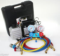1/4hp 2.5cfm Rotary Vane Vacuum Pump+testing Charging R134a Manifold Gauge +hose