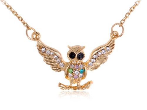 Gold  Multi Color Rhines Encrusted Owl Pendant Chain Fashion Necklace Ali
